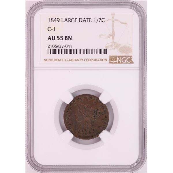 1849 Large Date C-1 Braided Hair Half Cent Coin NGC AU55BN
