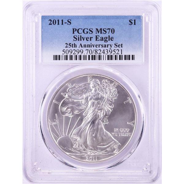 2011-S $1 American Silver Eagle Coin PCGS MS70 25th Anniversary