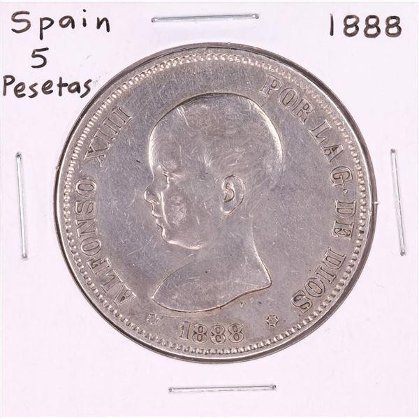1888 Spain 5 Pesetas Silver Coin