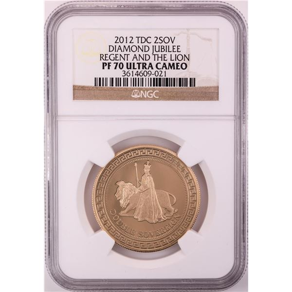2012 Proof Great Britain 2 Sovereign Regent and Lion Gold Coin NGC PF70 Ultra Cameo