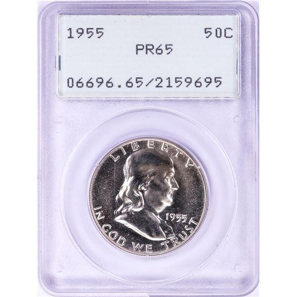 1955 Proof Franklin Half Dollar Coin PCGS PR65 Green Rattler Holder