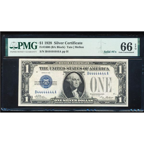 Solid Serial Number 1928 $1 Funnyback Silver Certificate Note PMG Gem Unc. 66EPQ