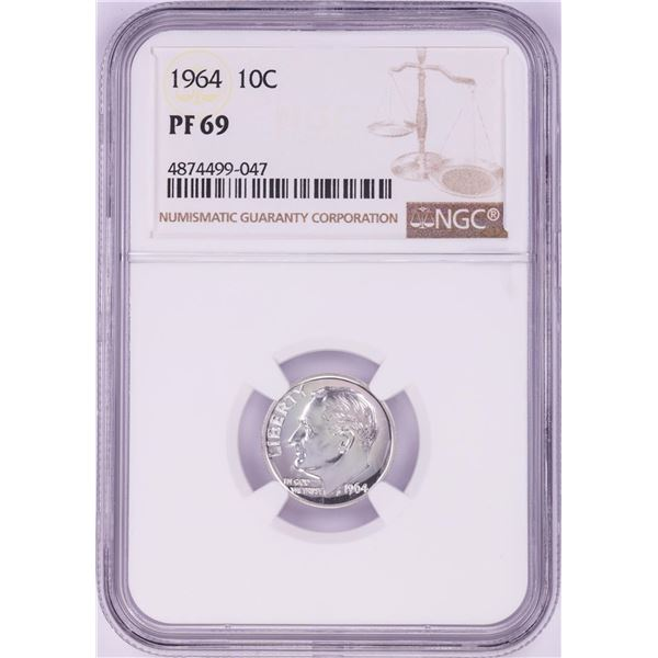 1964 Proof Roosevelt Dime Coin NGC PF69
