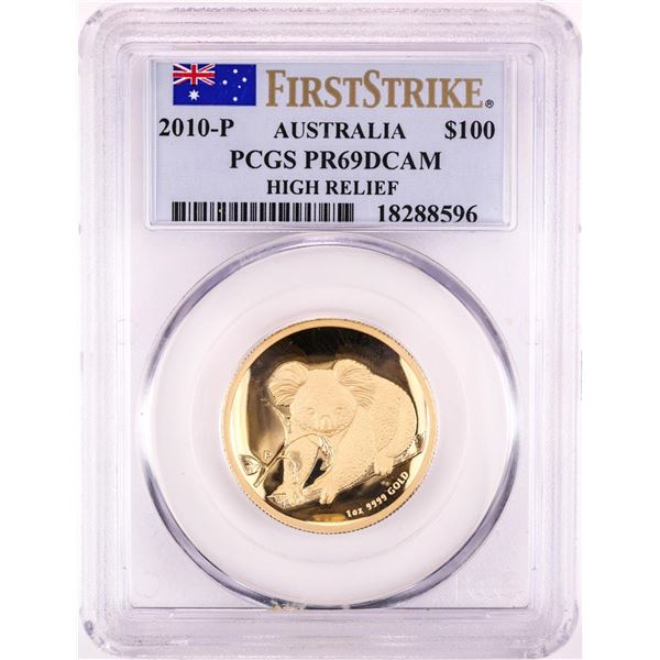 2010-P Australia $100 Proof Koala High Relief Gold Coin PCGS PR69DCAM