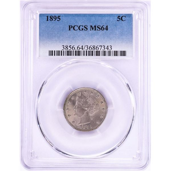 1895 Liberty V Nickel Coin PCGS MS64