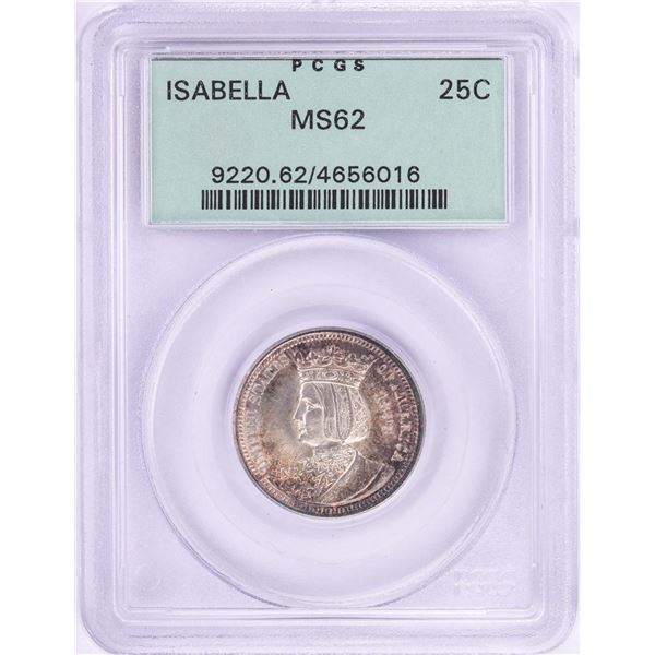 1893 Isabella Commemorative Quarter Coin PCGS MS62 Old Green Holder