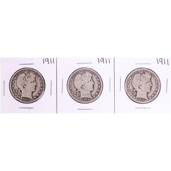 Lot of (3) 1911 Barber Half Dollar Coins