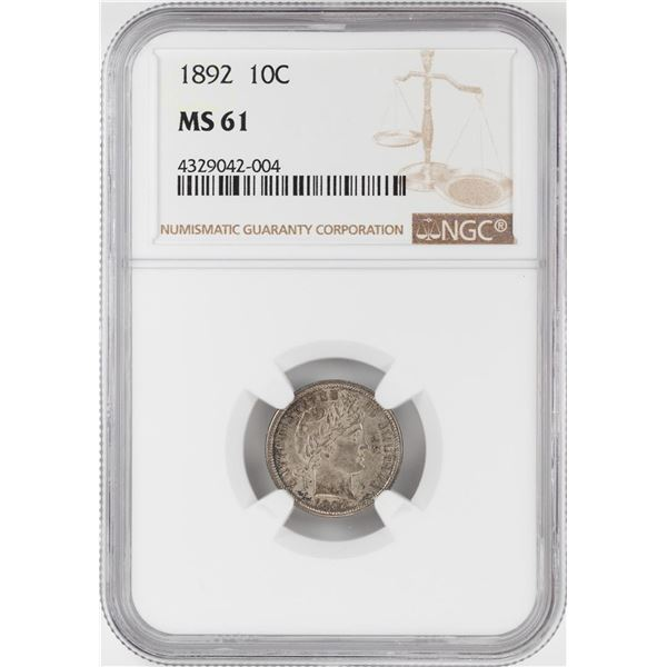 1892 Barber Dime Coin NGC MS61