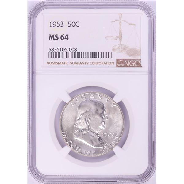 1953 Franklin Half Dollar Coin NGC MS64
