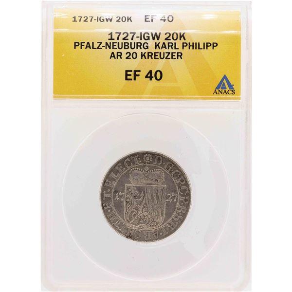 1727-IGW Pfalz-Neuburg Karl Philipp AR 20 Kreuzer Coin ANACS XF40