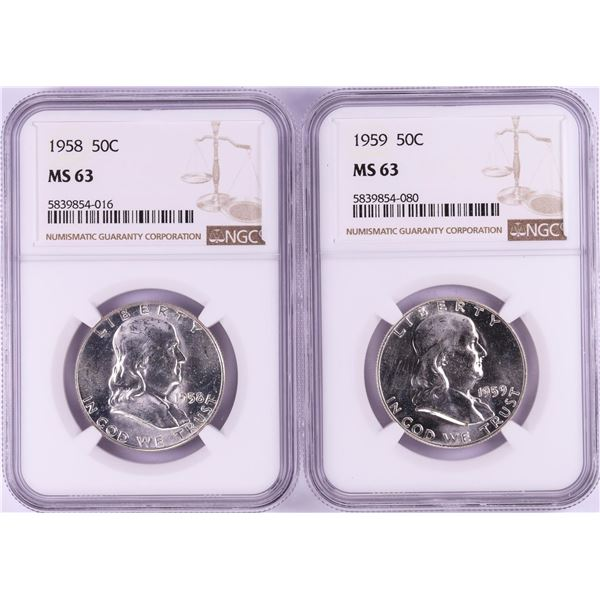 Lot of 1958-1959 Half Dollar Coins NGC MS63