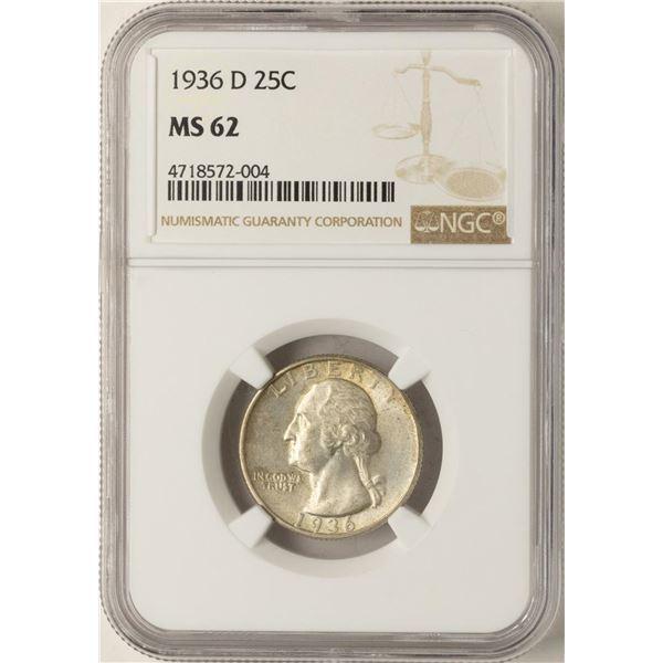 1936-D Washington Quarter Coin NGC MS62