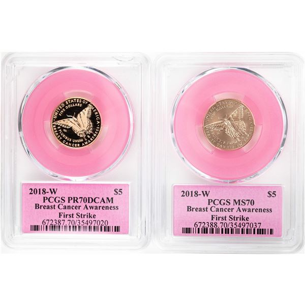 Lot of 2018-W $5 Breast Cancer Awareness Commemorative Gold Coins PCGS MS70/PR70DCAM