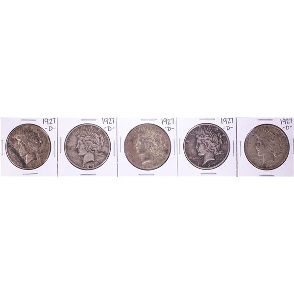 Lot of (5) 1927-D $1 Peace Silver Dollar Coins