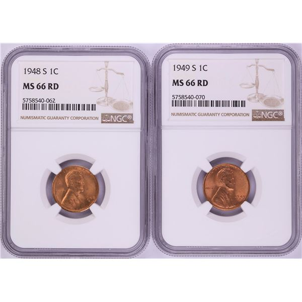 Lot of 1948-S & 1949-S Lincoln Wheat Cent Coins NGC MS66RD