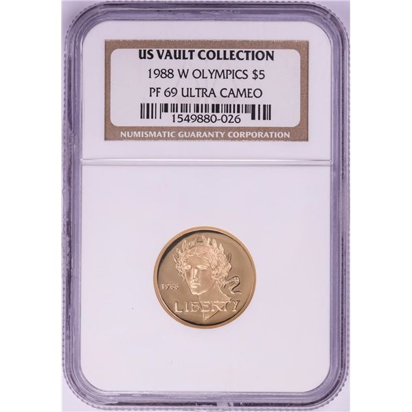 1988-W $5 Proof Olympics Commemorative Gold Coin NGC PF69 Ultra Cameo