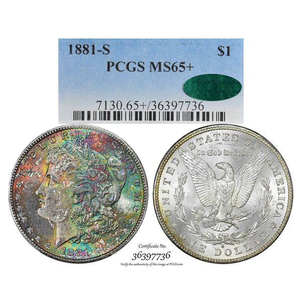 1881-S $1 Morgan Silver Dollar Coin PCGS MS65+ CAC Amazing Toning