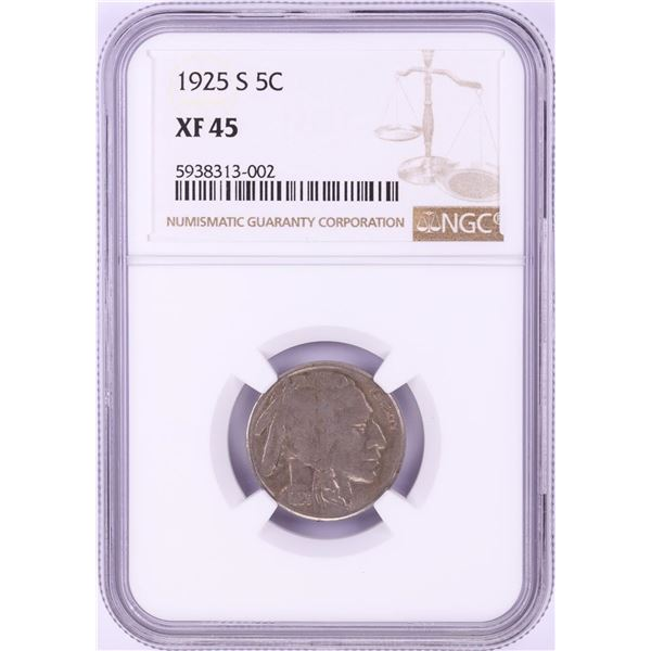 1925-S Buffalo Nickel Coin NGC XF45