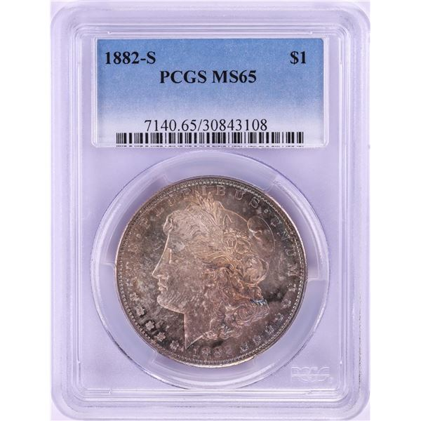 1882-S $1 Morgan Silver Dollar Coin PCGS MS65 Nice Toning