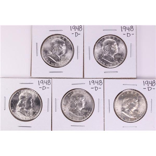 Lot of (5) 1948-D Franklin Half Dollar Coins