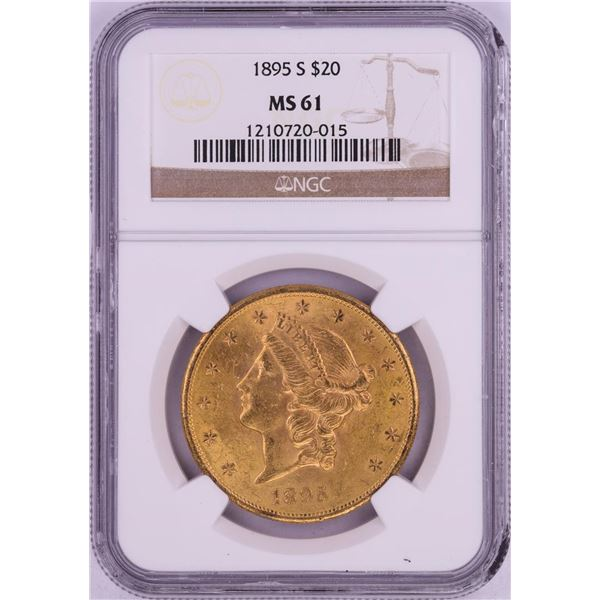 1895-S $20 Liberty Head Double Eagle Gold Coin NGC MS61- Chipped Holder