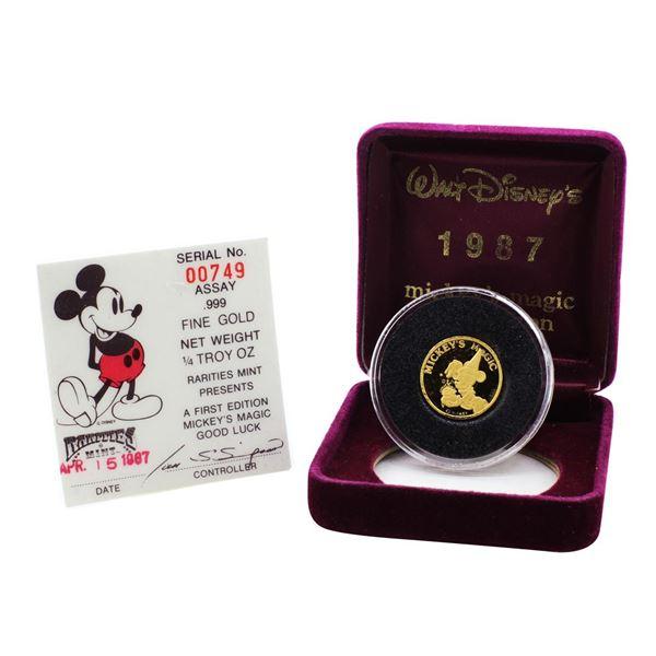 Rarities Mint 1987 Mickey's Magic Good Luck 1/4 oz Gold Round with Box & COA