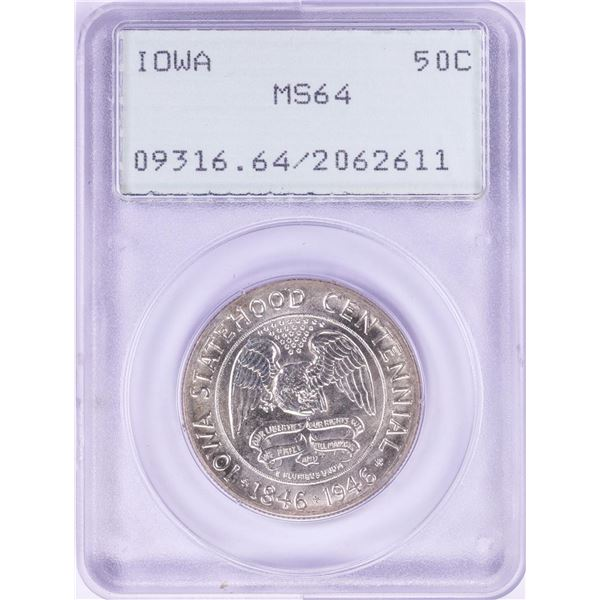 1946 Iowa Statehood Commemorative Half Dollar Coin PCGS MS64 Old Green Rattler