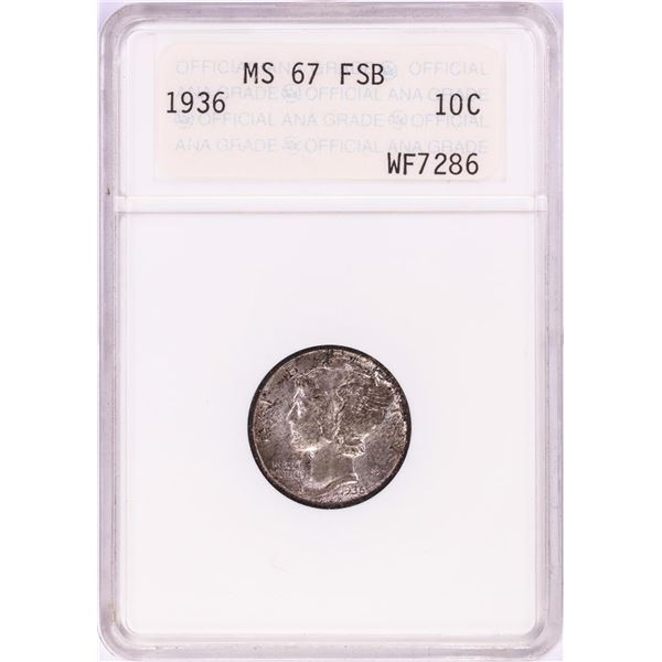 1936 Mercury Dime Coin ANA MS67FSB