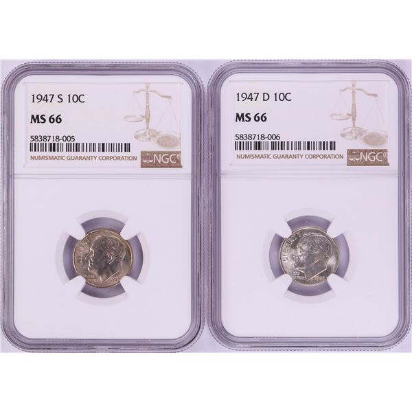 Lot of 1947-S & 1947-D Roosevelt Dime Coins NGC MS66