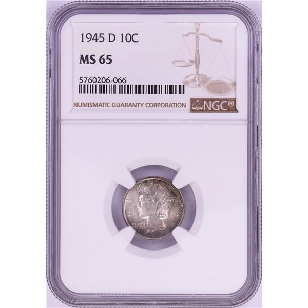1945-D Mercury Dime Coin NGC MS65