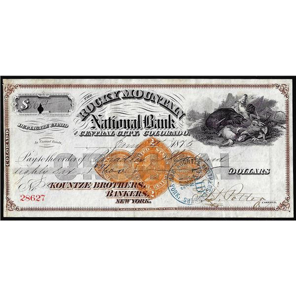 1875 Rocky Mountain Central City, Colorado Check