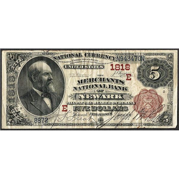 1882 BB $5 Merchants NB of Newark, NJ CH# 1818 National Currency Note