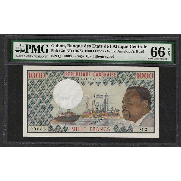1978 Banque des Etats Gabon 1000 Francs Note Pick# 3c PMG Gem Uncirculated 66EPQ