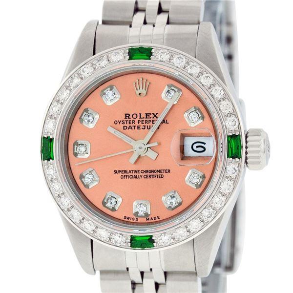 Rolex Ladies Stainless Steel Diamond & Emerald Quickset Oyster Perpetual Wristwatch