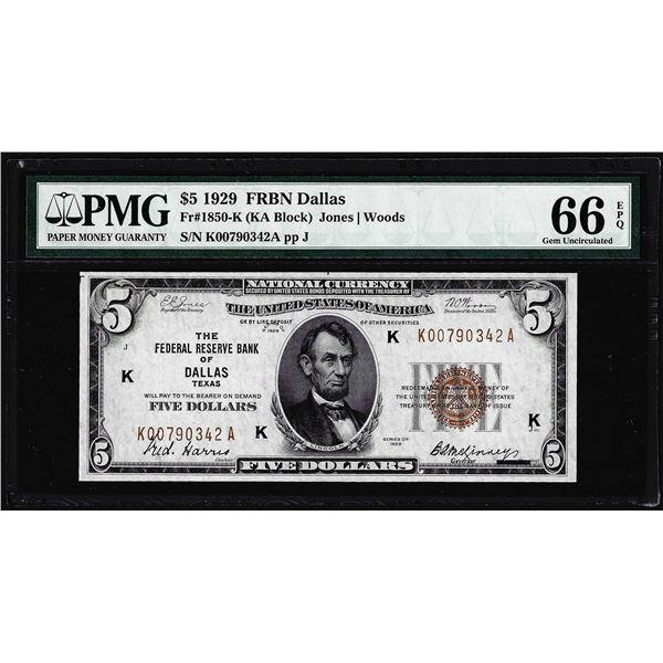1929 $5 Federal Reserve Bank Note Dallas Fr.1850-K PMG Gem Uncirculated 66EPQ