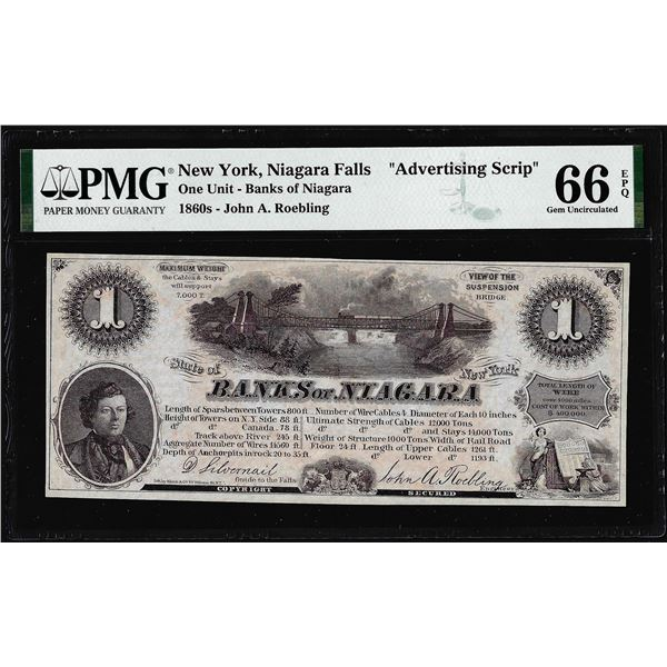 1860's $1 Banks of Niagara New York Advertising Script PMG Gem Uncirculated 66EPQ