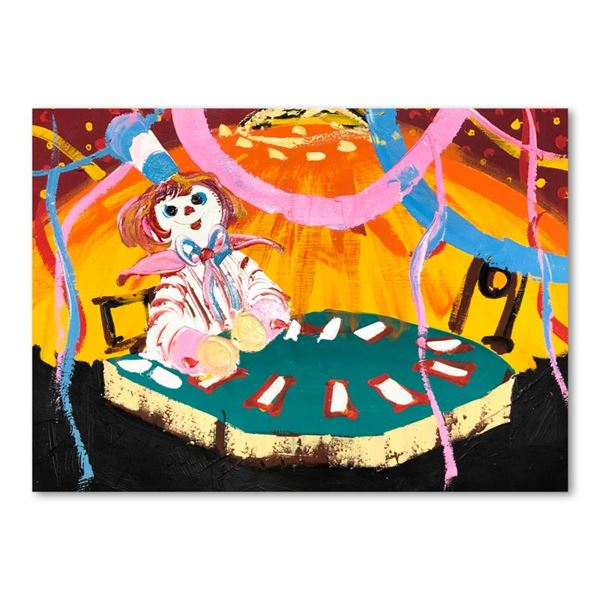 "Henrie (1932-1999) ""Blackjack Beats 21"" Original Oil on Canvas"