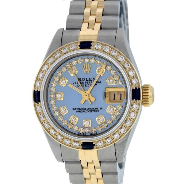 Rolex Ladies Two Tone Blue MOP Diamond & Sapphire Oyster Perpetual Datejust