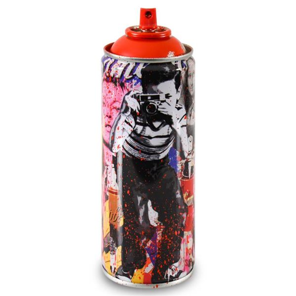 """Mr. Brainwash """"Smile - Full (Red)"""" Hand Painted on Spray Can"""