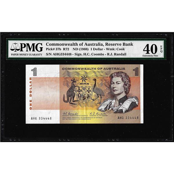 1968 Commonwealth of Australia 1 Dollar Note Pick# 37b PMG Extremely Fine 40EPQ