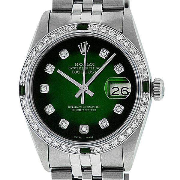 Rolex Men's Stainless Steel 36mm Green Vignette Diamond Datejust Watch