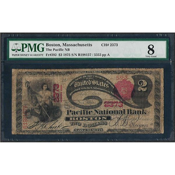 1875 $2 Lazy Deuce Pacific NB Boston, MA CH# 2373 National Currency Note PMG Very Good 8