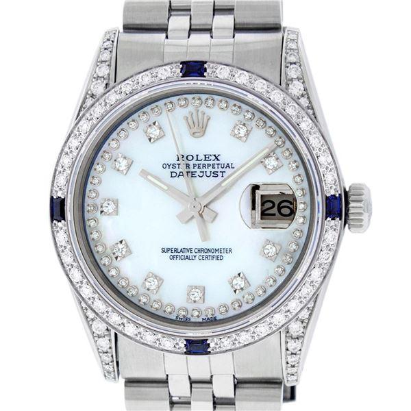 Rolex Men's Stainless Steel Diamond & Sapphire Oyster Perpetual Datejust Wristwatch