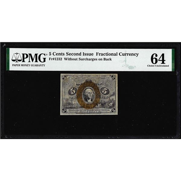1863 Five Cents Second Issue Fractional Note Fr.1232 PMG Choice Uncirculated 64