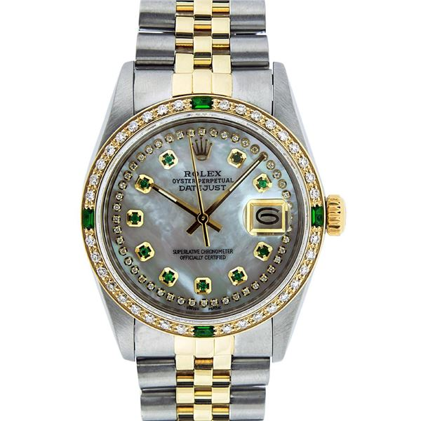 Rolex Men's Two Tone Stainless Steel & Gold MOP Emerald String Diamond Datejust Watch