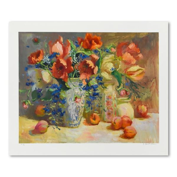 """S. Burkett Kaiser """"Tulips & Peaches"""" Limited Edition Giclee on Paper"""