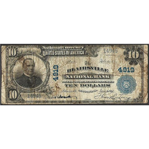 1902PB $10 Blairsville National Bank, PA CH# 4919 National Currency Note