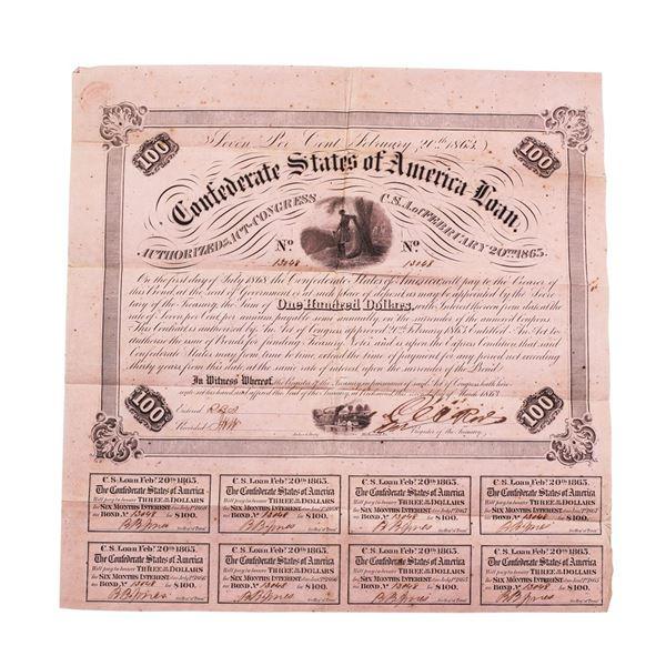 1863 $100 Confederate Bond Obsolete Sheet B-212