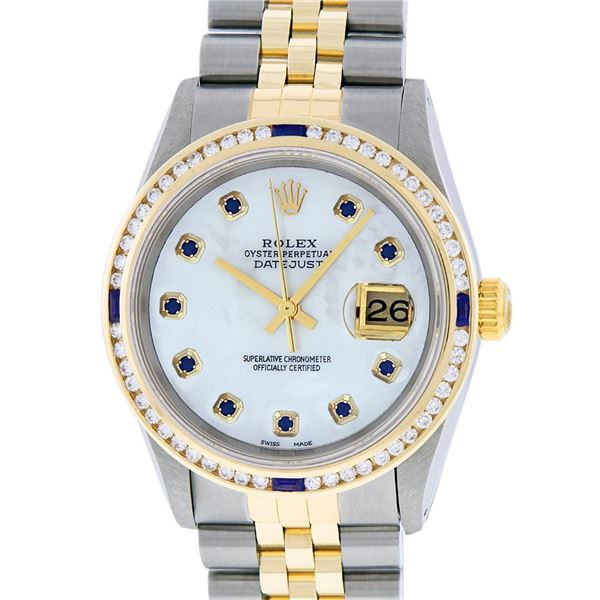 Rolex Mens Two Tone MOP Diamond & Sapphire Datejust Oyster Perpetual Wristwatch