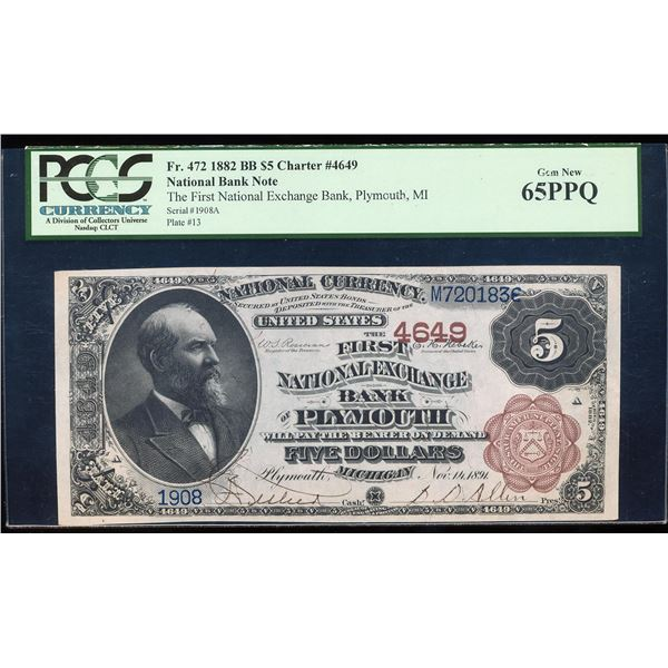 1882BB $5 Plymouth, MI CH# 4649 National Bank Note PCGS Gem New 65PPQ